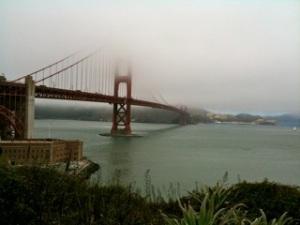 Bridge in fog- hard to see the far bank