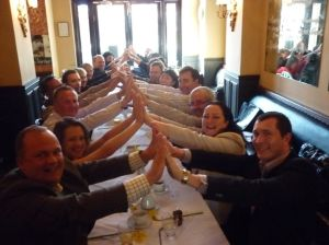 'First cut': The first human bridge photographed, taken at the 'Oddfellows' breakfast in Sydney